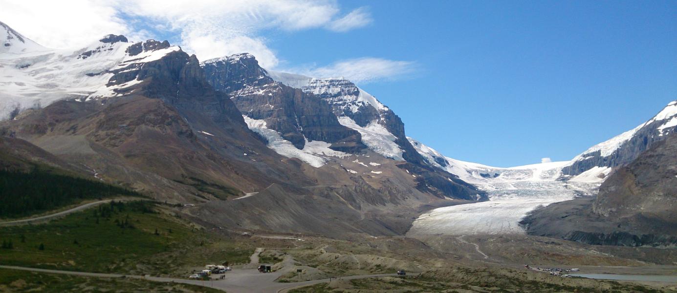 Glacier d'Athabasca dans les Rocheuses canadiennes